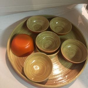 Bamboo serving tray with bowls